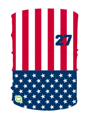 Neck gaiter with flag design and number